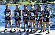 Members of the Mission College women's team Samantha Ochoa (322), Melissa Mejorada (321), Nataly Galicia (320), Ruth Cobieya (319), Paola Rojas (323) and Suzette Sanchez (324) pose during the Southern California Community College cross country finals in Cerritos, Calif., Friday, Nov. 2, 2018. (Kirby Lee via AP)