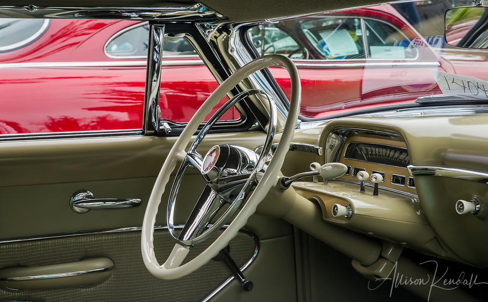 Detail of a vintage car on display at the 2017 Carmel-by-the-Sea Concours on the Avenue