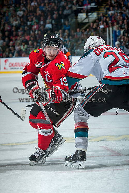KELOWNA, CANADA - MAY 1: Nicolas Petan #19 of Portland Winterhawks deals around Leon Draisaitl #29 of Kelowna Rockets after the face off in the second period of game 5 of the Western Conference Final on May 1, 2015 at Prospera Place in Kelowna, British Columbia, Canada.  (Photo by Marissa Baecker/Getty Images)  *** Local Caption *** Nicolas Petan; Leon Draisaitl;