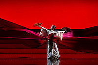 """LONDON, UK, 14 May, 2016. A dancer rehearses for the revival of director Anthony Minghella's production of Puccini's opera """"Madam Butterfly"""" at the London Coliseum for the English National Opera. The production opens on 16 May. Photo credit: Scott Rylander."""