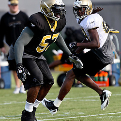 August 6, 2011; Metairie, LA, USA; New Orleans Saints linebacker Clint Ingram (57) during training camp practice at the New Orleans Saints practice facility. Mandatory Credit: Derick E. Hingle