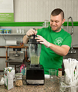 Derek Fleming blends together a smoothie at The Green Light restaurant in East Arlington, Nov. 8, 2017.   [Wicked Local Photo/James Jesson]