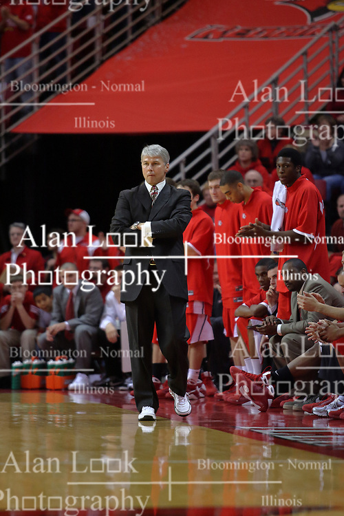 "31 January 2009: Braves coach Jim Les. The Illinois State University Redbirds join the Bradley Braves in a tie for 2nd place in ""The Valley"" with a 69-65 win on Doug Collins Court inside Redbird Arena on the campus of Illinois State University in Normal Illinois"