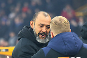 Wolverhampton Wanderers manager Nuno Espirito Santo and AFC Bournemouth manager Eddie Howe during the Premier League match between Wolverhampton Wanderers and Bournemouth at Molineux, Wolverhampton, England on 15 December 2018.