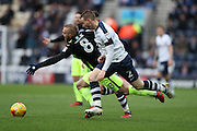 Brighton & Hove Albion midfielder Jiri Skalak (8) and Preston North End defender Marnick Vermijl (2) during the EFL Sky Bet Championship match between Preston North End and Brighton and Hove Albion at Deepdale, Preston, England on 14 January 2017.