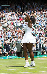 LONDON, ENGLAND - Thursday, July 7, 2016:  Serena Williams (USA) doing her famous twirl after winning the Ladies' Singles - Semi-finals match on day eleven of the Wimbledon Lawn Tennis Championships at the All England Lawn Tennis and Croquet Club. (Pic by Kirsten Holst/Propaganda)