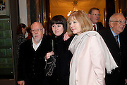 SIR PETER BLAKE; ROSE BLAKE; LADY BLAKE, Opening of David Hockney ' A Bigger Picture' Royal Academy. Piccadilly. London. 17 January 2012