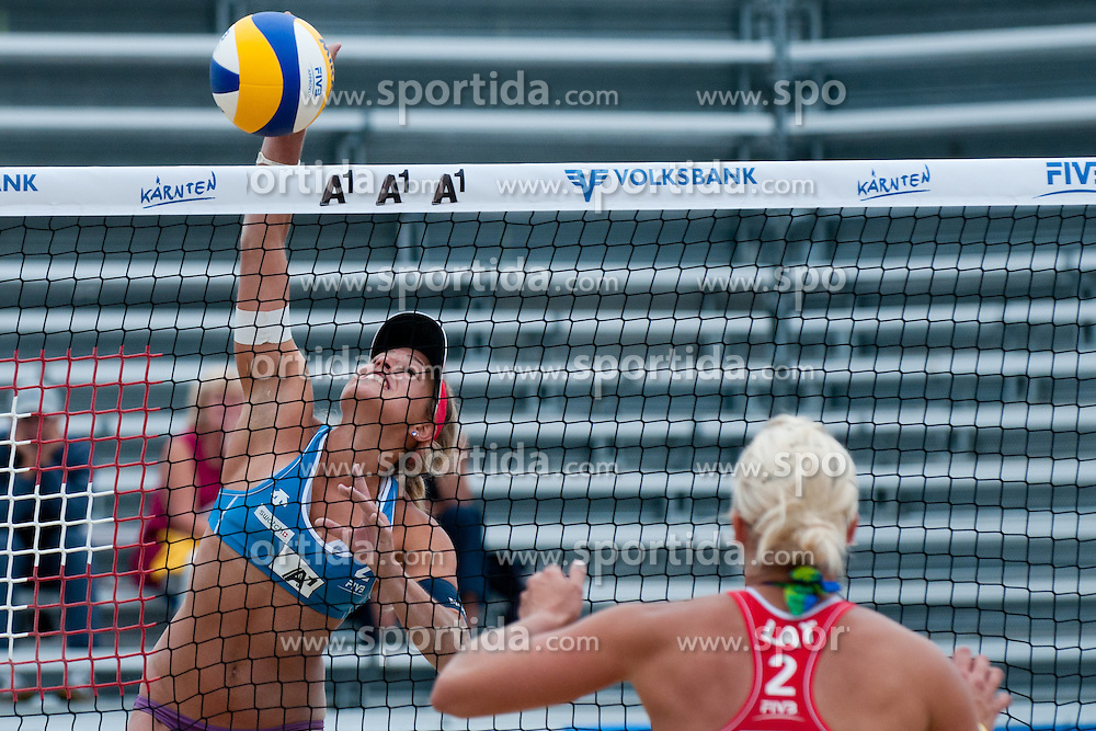Simona Fabjan of Slovenia vs Inese Jursone of Latvia at A1 Beach Volleyball Grand Slam tournament of Swatch FIVB World Tour 2011, on August 2, 2011 in Klagenfurt, Austria. (Photo by Matic Klansek Velej / Sportida)