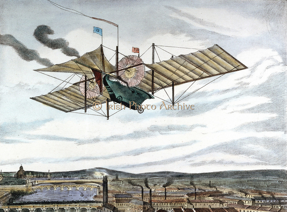 Henson and Stringfellow's 1843 design for steam-powered flying machine. Webbed tail 15.24m, and beneath it a rudder. Steam engine in car drove two set of vanes (pink objecs) 6.09m diameter. Wing area 418.064 sq. metres. Lithograph, London, 1843.