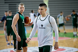 Jaka Blazic and Matic Rebec during practice session of Slovenian National Basketball team before qualification matches for FIBA Basketball World Cup 2019, on February 20, 2017 in Arena Stozice, Ljubljana, Slovenia. Photo by Urban Urbanc / Sportida