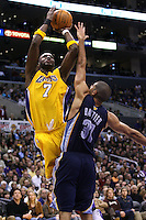 28 December 2005: forward Lamar Odom of the Los Angeles Lakers shoots the ball over Memphis Grizzlies forward Shane Battier during the 4th period of the Grizzlies 100-99 victory over the Lakers at the STAPLES Center in Los Angeles, CA.