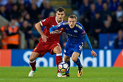 LEICESTER, ENGLAND - Saturday, September 23, 2017: Liverpool's Dejan Lovren and Leicester City's Jamie Vardy during the FA Premier League match between Leicester City and Liverpool at the King Power Stadium. (Pic by David Rawcliffe/Propaganda)