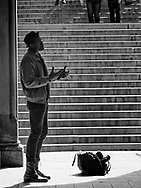A singer at Bethesda Terrace, Central Park.