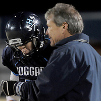 Austin Schoenleber talks to Coach Scott Braswell Friday November 21, 2014 at Hoggard High School in Wilmington, N.C. (Jason A. Frizzelle)