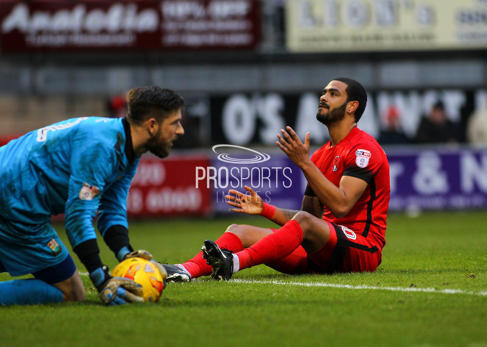 Paul McCallum can't believe he didn't score during the EFL Sky Bet League 2 match between Leyton Orient and Barnet at the Matchroom Stadium, London, England on 7 January 2017. Photo by Jack Beard.
