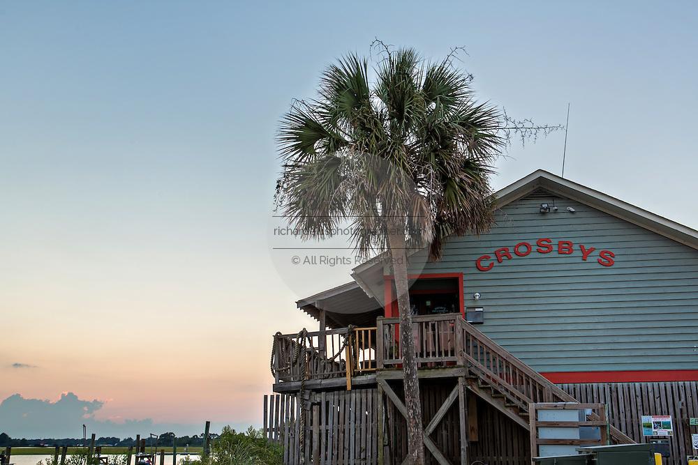 Crosby Fish & Shrimp shop at sunset in Folly Beach, SC.