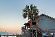 Crosby Fish & Shrimp shop at sunset in Folly Beach, SC.