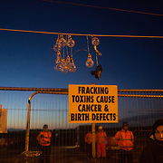 Anti-fracking activists by the gates to Quadrilla's fracking site in New Preston Road, Lancashire. Fracking is a highly contested way of extracting gas, it is risky to extract and damaging to the environment and is banned in parts of Europe . Lancashire has in the past experienced earth quakes blamed on fracking.