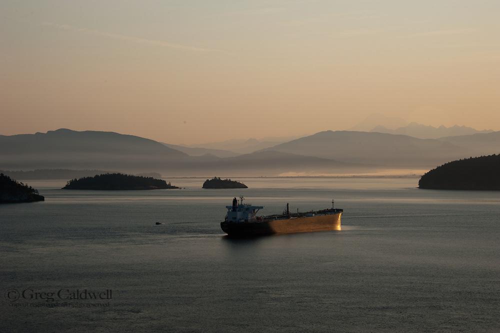Oil Tanker waiting in early morning light.