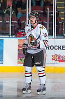 KELOWNA, CANADA - OCTOBER 4:   Nic Petan #19 of the  Portland Winterhawks stands on the ice at the Kelowna Rockets on October 4, 2013 at Prospera Place in Kelowna, British Columbia, Canada (Photo by Marissa Baecker/Shoot the Breeze) *** Local Caption ***