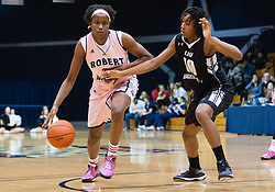 February 22 2016: Robert Morris Colonials center Mikalah Mulrain (21) dribbles while being guarded by Long Island Blackbirds forward DeAngelique Waithe (10) during the first half in the NCAA Women's Basketball game between the Long Island Blackbirds and the Robert Morris Colonials at the Charles L. Sewall Center in Moon Township, Pennsylvania (Photo by Justin Berl)