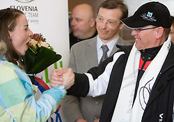 Slovenian 2-times silver medalist alpine skier Tina Maze and her father Ferdo Maze at arrival to Airport Joze Pucnik from Vancouver after Winter Olympic games 2010, on February 28, 2010 in Brnik, Slovenia. (Photo by Vid Ponikvar / Sportida)