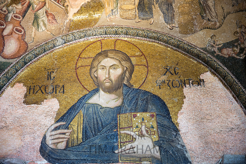 Church of St Saviour in Chora, Kariye Museum St Savior Deesis mosaic of Jesus Christ, The Chalkite Christ, Istanbul, Turkey