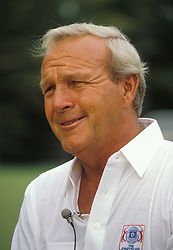 ARNOLD PALMER (Sept. 10, 1929 - Sept. 25, 2016) was an American professional golfer, who is generally regarded as one of the greatest players in professional golf history. He won numerous events on both the PGA Tour and Champions Tour, dating back to 1955. Nicknamed 'The King', he was one of golf's most popular stars and its most important trailblazer, because he was the first superstar of the sport's television age, which began in the 1950s. PICTURED: Sep 05, 1986 - Potomac, Maryland, U.S. - World champion golfer ARNOLD PALMER poses on green of hole after hitting two holes in one.  (Credit Image: © Arthur Grace/ZUMAPRESS.com)