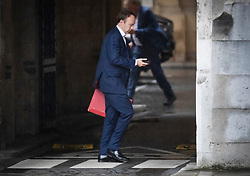 © Licensed to London News Pictures. 26/09/2019. London, UK. Health Secretary Matt Hancock walks at Parliament in Westminster . The Supreme Court has ruled that Parliament had been suspended illegally. British Prime Minster Boris Johnson prorogued parliament just weeks before the UK is due to leave the EU on October 31st. Photo credit: Peter Macdiarmid/LNP