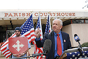 Richard Barrett, leader of the Nationalist Movement speaks outside the LaSalle County Court House on Martin Luther King Day to protest the Jena 6.A group of protesters march to Jena High School on the Martin Luther King Jr. holiday in Jena, La., Monday, Jan. 21, 2008. The protest was organized by the self-described 'pro-majority' Nationalist Movement of Learned, Mississippi, lead by Richard Barrett, and was being held in opposition to the six black teenagers who were arrested in the beating of a white classmate in December 2006, and the King holiday. The protest drew about 50 participants and 100 counter-demonstrators to Jena.(Photo/© Suzi Altman) The Rankin County Sheriff's Department has confirmed that the body of white supremacist and attorney Richard Barrett, 67, was found in his Pearl home today, apparently the victim of a homicide.