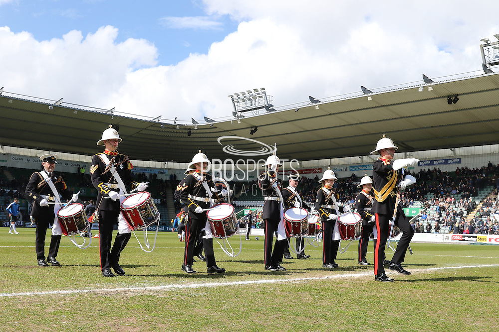 Celebrating Armed Forces Day at Home Park prior the Sky Bet League 2 match between Plymouth Argyle and AFC Wimbledon at Home Park, Plymouth, England on 9 April 2016. Photo by Stuart Butcher.