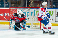 KELOWNA, BC - NOVEMBER 26: Roman Basran #30 of the Kelowna Rockets misses a shoot out save on a shot by Dylan Guenther #11 of the Edmonton Oil Kings  at Prospera Place on November 26, 2019 in Kelowna, Canada. (Photo by Marissa Baecker/Shoot the Breeze)