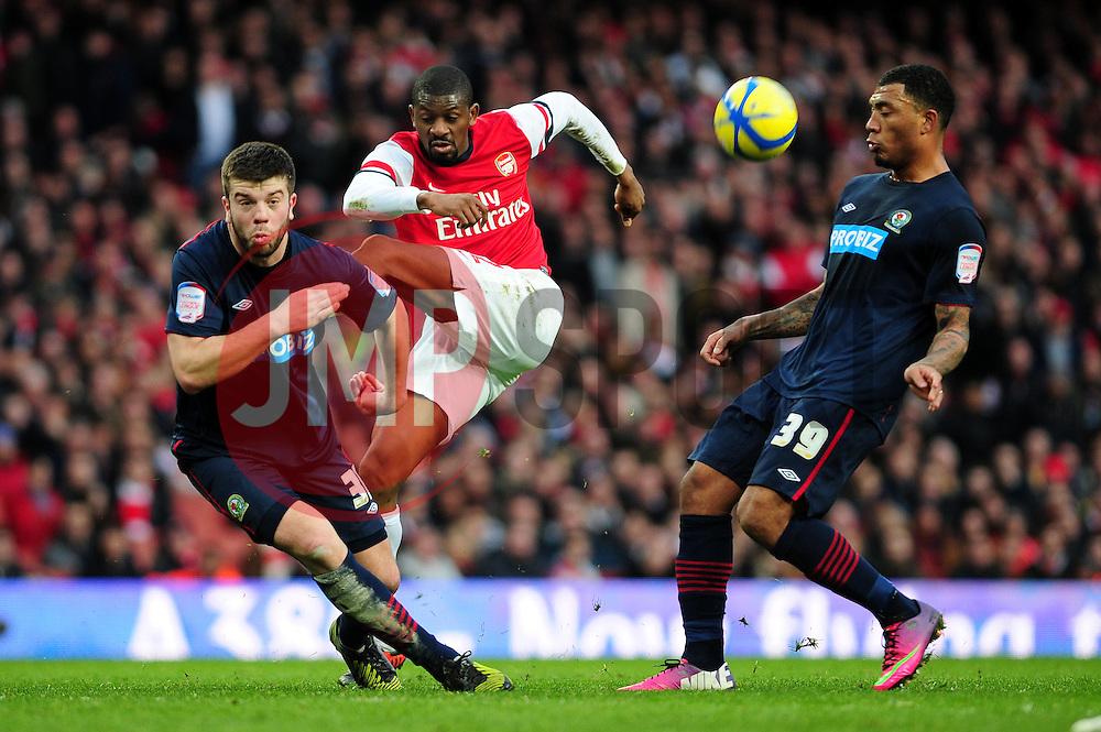 Arsenal's Abou Diaby sees his shot blocked by Blackburn Rovers' Grant Hanley - Photo mandatory by-line: Dougie Allward/JMP - Tel: Mobile: 07966 386802 16/02/2013 - SPORT - FOOTBALL - Emirates Stadium - London -  Arsenal V Blackburn Rovers - FA Cup - Fifth Round