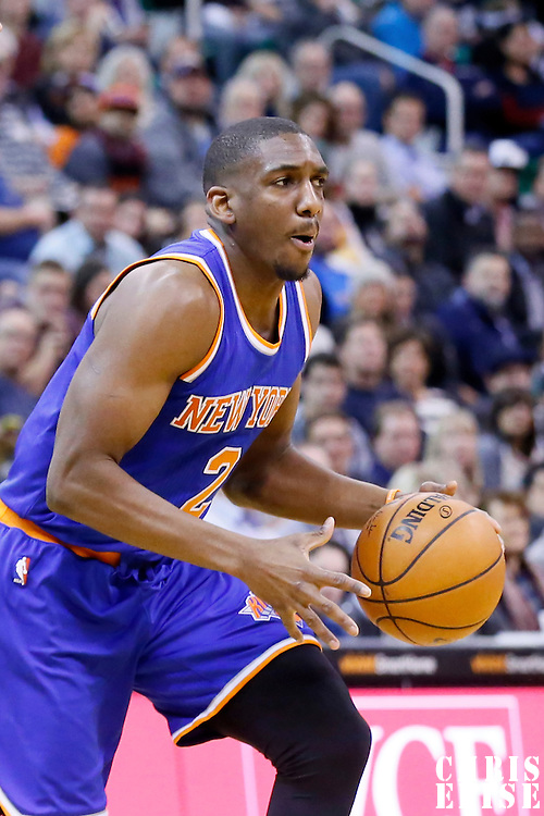 09 December 2015: New York Knicks guard Langston Galloway (2) dribbles during the Utah Jazz 106-85 victory over the New York Knicks, at the Vivint Smart Home Arena, Salt Lake City, Utah, USA.