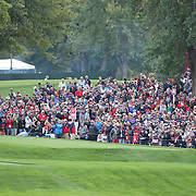 Ryder Cup 2016. Rory McIlroy of Europe plays his tee shot on the 17th during practice day in front of massive crowds at the Hazeltine National Golf Club on September 28, 2016 in Chaska, Minnesota.  (Photo by Tim Clayton/Corbis via Getty Images)