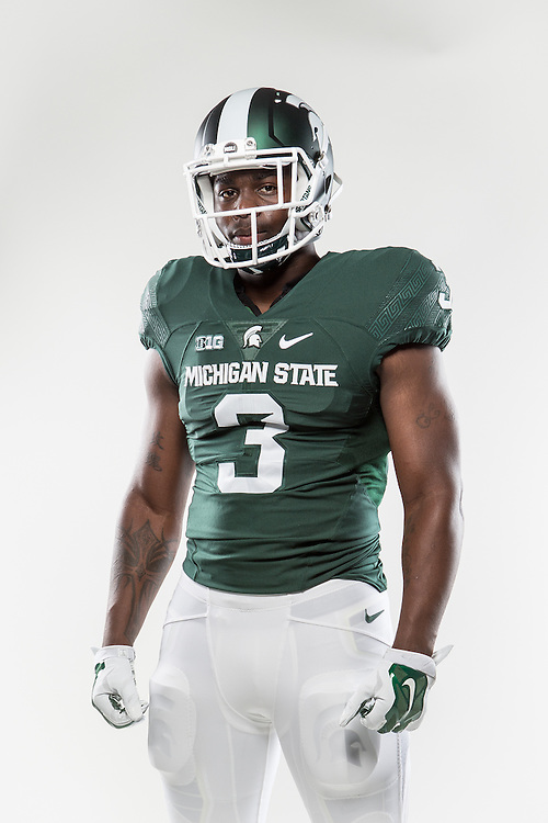 LJ Scott, Promotional Athlete Portrait for Michigan State University Athletic Department.<br />