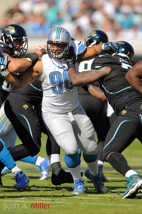 Detroit Lions defensive tackle Ndamukong Suh (90) during the Lions 31-14 win over the Jacksonville Jaguars at EverBank Field on November 4, 2012 in Jacksonville, Florida. ..©2012 Scott A. Miller..