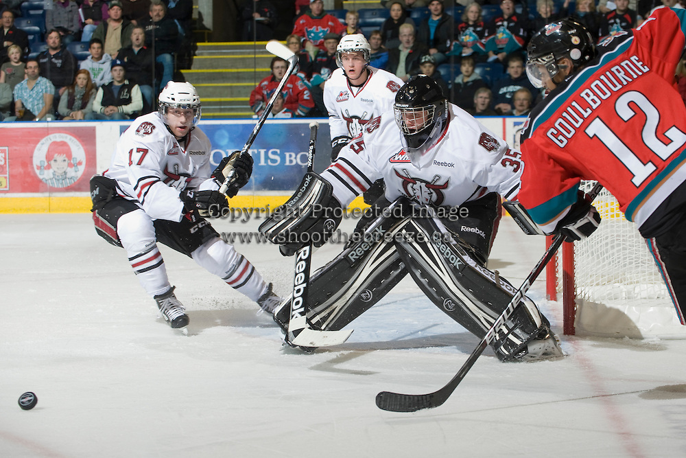KELOWNA, CANADA, NOVEMBER 9: Patrik Bartosak #35 of the Red Deer Rebels defends the net as the Red Deer Rebels visit the Kelowna Rockets  on November 9, 2011 at Prospera Place in Kelowna, British Columbia, Canada (Photo by Marissa Baecker/Shoot the Breeze) *** Local Caption ***