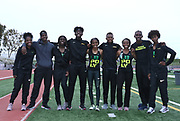 Members of the Long Beach Poly boys and girls 4 x 400m relays pose during the 2019 CIF Southern Section Masters Meet in Torrance, Calif., Saturday, May 18, 2019.