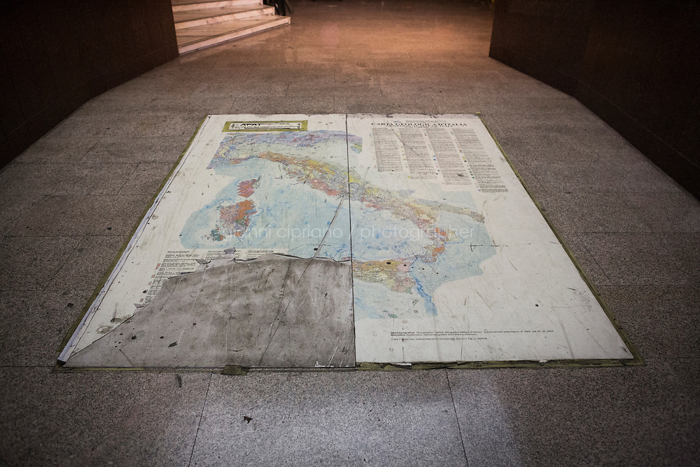 ROME, ITALY - 25 NOVEMBER 2014: A geological map of Italy is here at the entrance of the former headquarters of ISPRA (Institute for Environmental Protection and Research), that since  November 2013 is a squatted building in central Rome where approximantely 600 Eritrean refugees and asylum seekers live,  in Rome, Italy, on November 25th 2014.