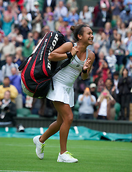 LONDON, ENGLAND - Monday, June 25, 2012: Heather Watson (GBR) celebrates after winning her Ladies' Singles 1st Round on the opening day of the Wimbledon Lawn Tennis Championships at the All England Lawn Tennis and Croquet Club. (Pic by David Rawcliffe/Propaganda)