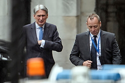 © Licensed to London News Pictures. 08/05/2019. London, UK. Chancellor PHILIP Hammond is seen at the Houses of Parliament in London after PMQs. Talks between Number 10 and Labour party officials continue in an attempt to reach an agreement on a withdrawal agreement from the EU. Photo credit: Ben Cawthra/LNP