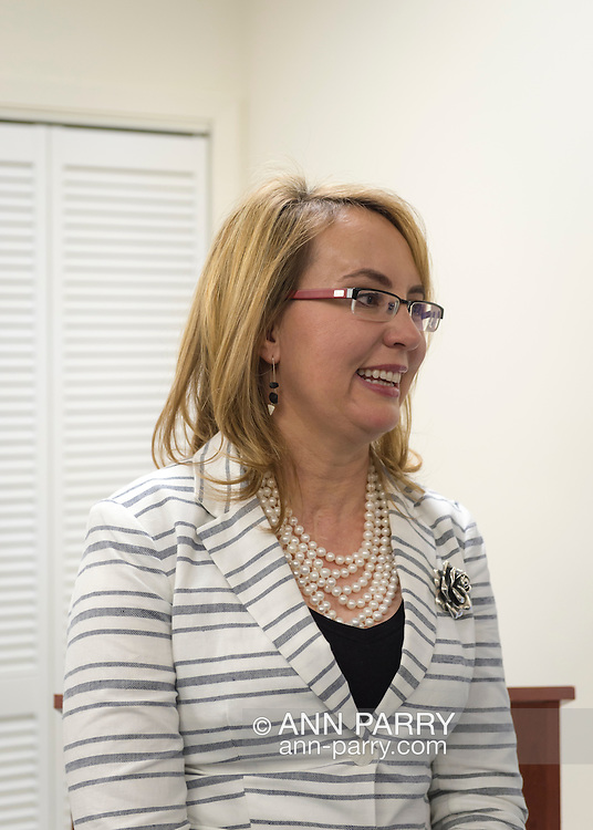 Garden City, New York, USA. 17th April 2016. GABBY GIFFORDS, former United States Congresswoman spoke about the importance of GOTV, Getting Out The Vote for Hillary Clinton - including because of Clinton's strong position on stricter gun control legislation - at the Canvass Kickoff at the Nassau County Democratic Office in Garden City, a campaign Official Event. Giffords survived an assassination attempt near Tuscon, Arizona, during her first 'Congress on Your Corner' event in January 2011.