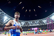 Great Britain, London - 2017 August 12: Ioannis Kiriazis from Greece competes in men's javelin throw final during IAAF World Championships London 2017 Day 9 at London Stadium on August 12, 2017 in London, Great Britain.<br /> <br /> Mandatory credit:<br /> Photo by © Adam Nurkiewicz<br /> <br /> Adam Nurkiewicz declares that he has no rights to the image of people at the photographs of his authorship.<br /> <br /> Picture also available in RAW (NEF) or TIFF format on special request.<br /> <br /> Any editorial, commercial or promotional use requires written permission from the author of image.