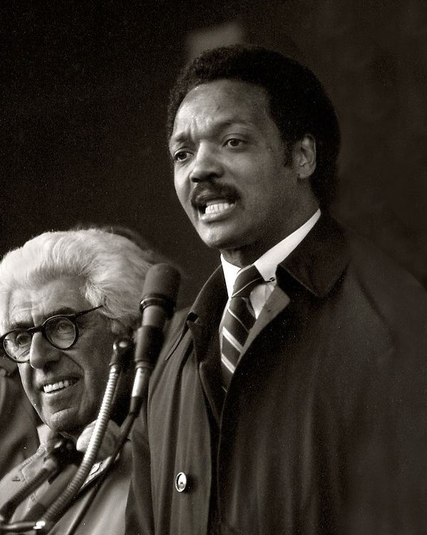 "From the ""Jesse Jackson Harlem Rally"" in 1984. Jesse was running for president. Barry Commoner (left) was his vice-president."