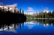 Mount Odaray and Cathedral Peak from Lake O'Hara, Yoho National Park, British Columbia, Canada