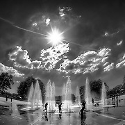Concourse Park and Fountain near the Colonnade in the Old Northeast section of Kansas City, Missouri.