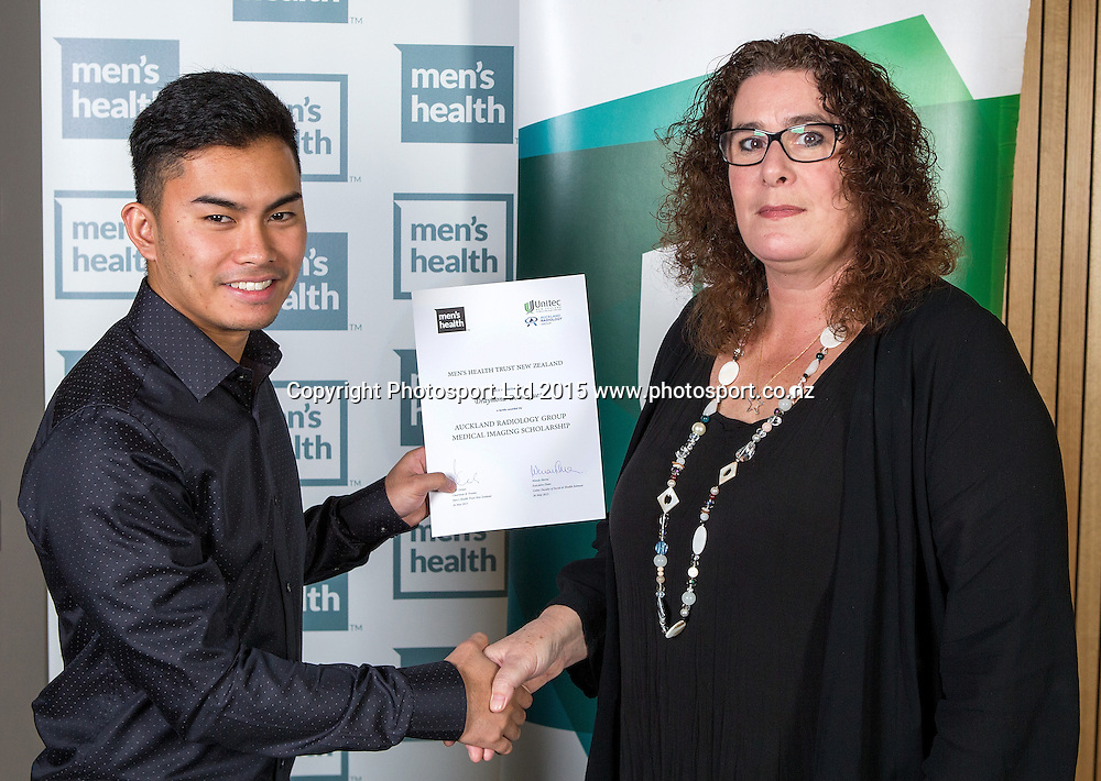 Draymond Dominguez, left, with Michelle Holmes at the Men`s Health Trust, 2015 Award Ceremony, Unitec, Auckland, New Zealand, Tuesday, May 26, 2015. Copyright photo: David Rowland / www.photosport.co.nz