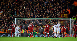 LIVERPOOL, ENGLAND - Tuesday, April 24, 2018: AS Roma's Diego Perotti scores the second goal from the penalty kick during the UEFA Champions League Semi-Final 1st Leg match between Liverpool FC and AS Roma at Anfield. (Pic by David Rawcliffe/Propaganda)