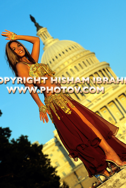Belly Dancer in motion on the steps of the US Capitol Building - Washington DC, USA